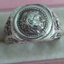 Greek Alexander the Great Coin Sterling Silver 925 Men's Ring skaisMY17