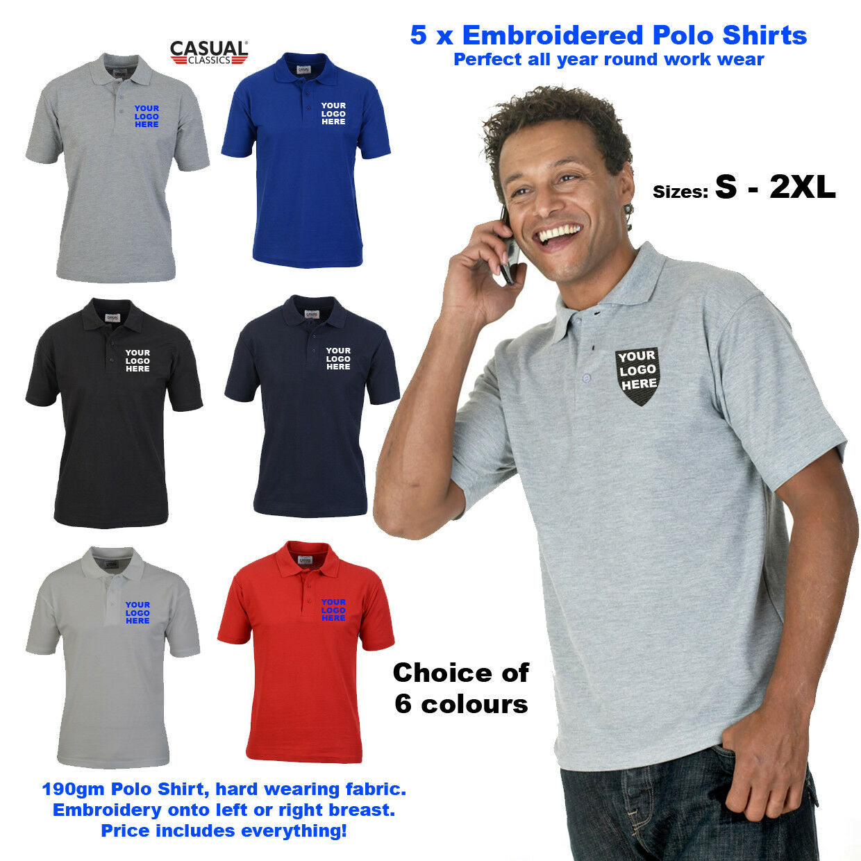 5x Custom EMBROIDEROT Polo Shirts Unisex Personalised Workwear Polo Embroidery