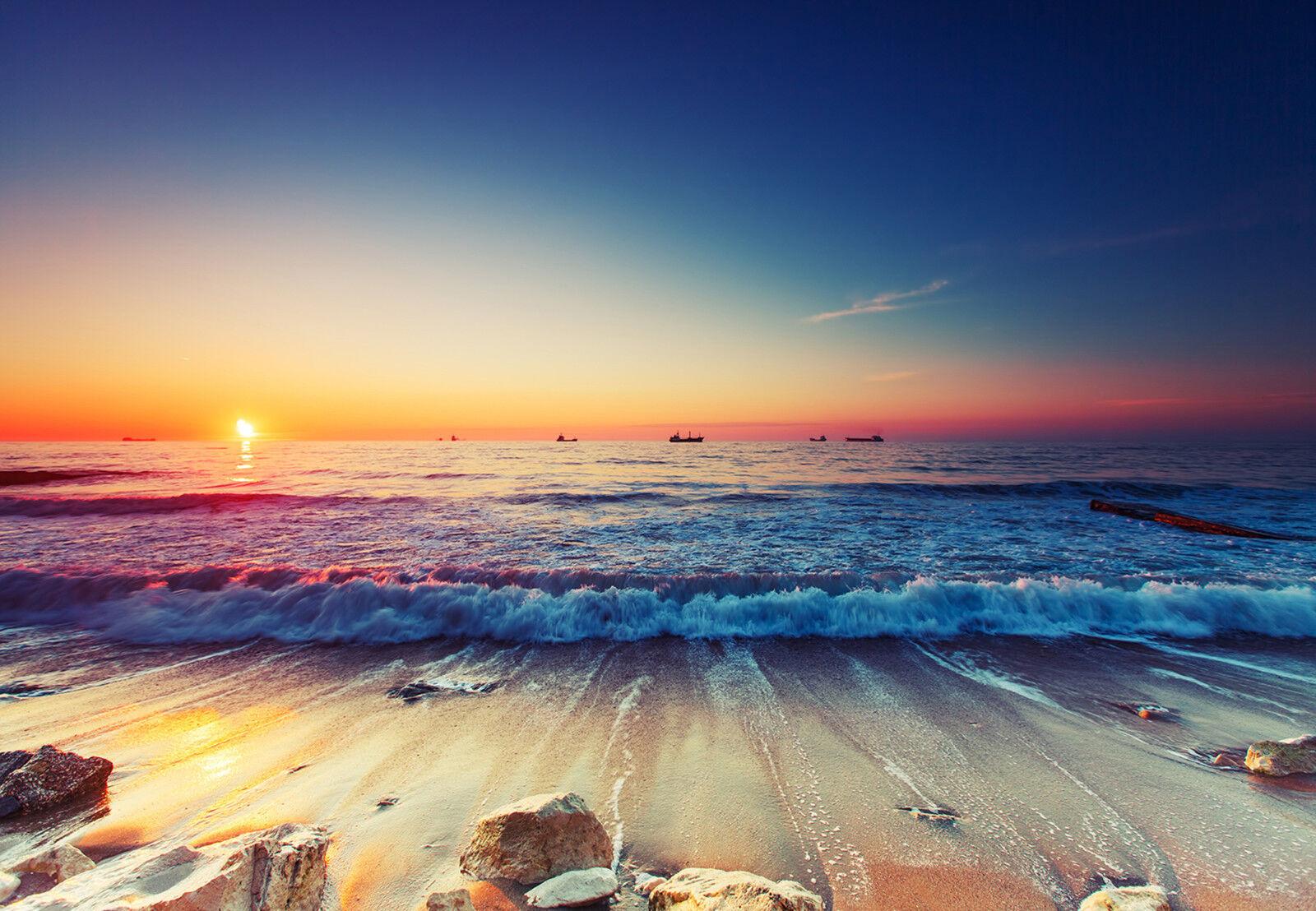 VLIES VLIES VLIES Fototapete-STRAND-(12623)-Wellen Sonnenuntergang Wolken Himmel Steine XXL 8085c1