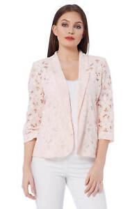 Roman-Originals-Womens-Rose-Pink-Floral-Lace-Jacket-Sizes-10-20