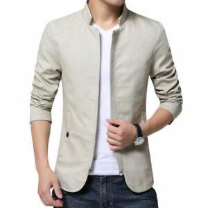 New-Stylish-Mens-Jacket-Collar-Coat-Casual-Outwear-Blazer-Outerwear-L