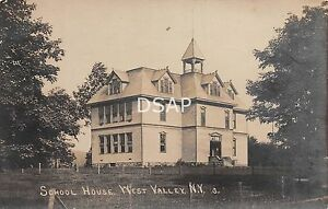 New-York-NY-Postcard-Real-Photo-RPPC-c1910-WEST-VALLEY-School-House-Building