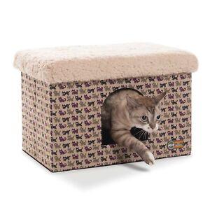 KH-Kitty-Cat-Pet-Bed-Bunkhouse-Kitty-Print-Tan