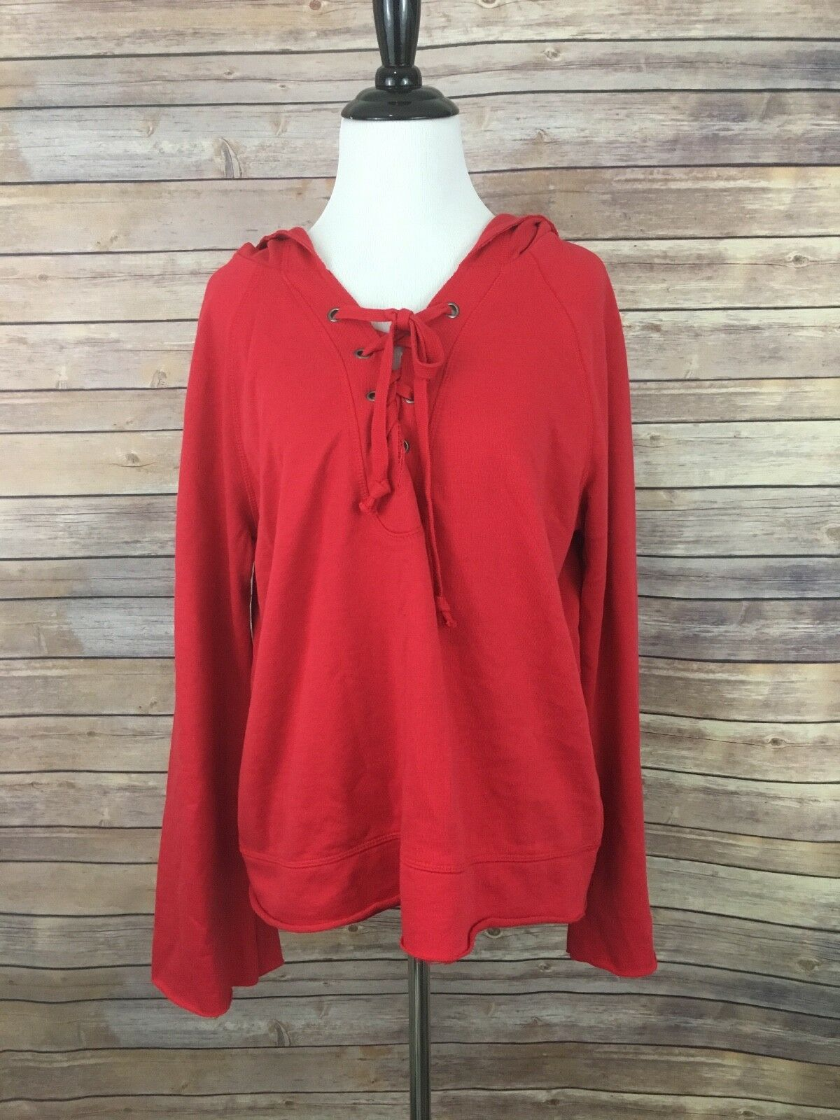 New Sanctuary Red Bailey Bailey Bailey Lace-Up Hoodie (Size M) 931173