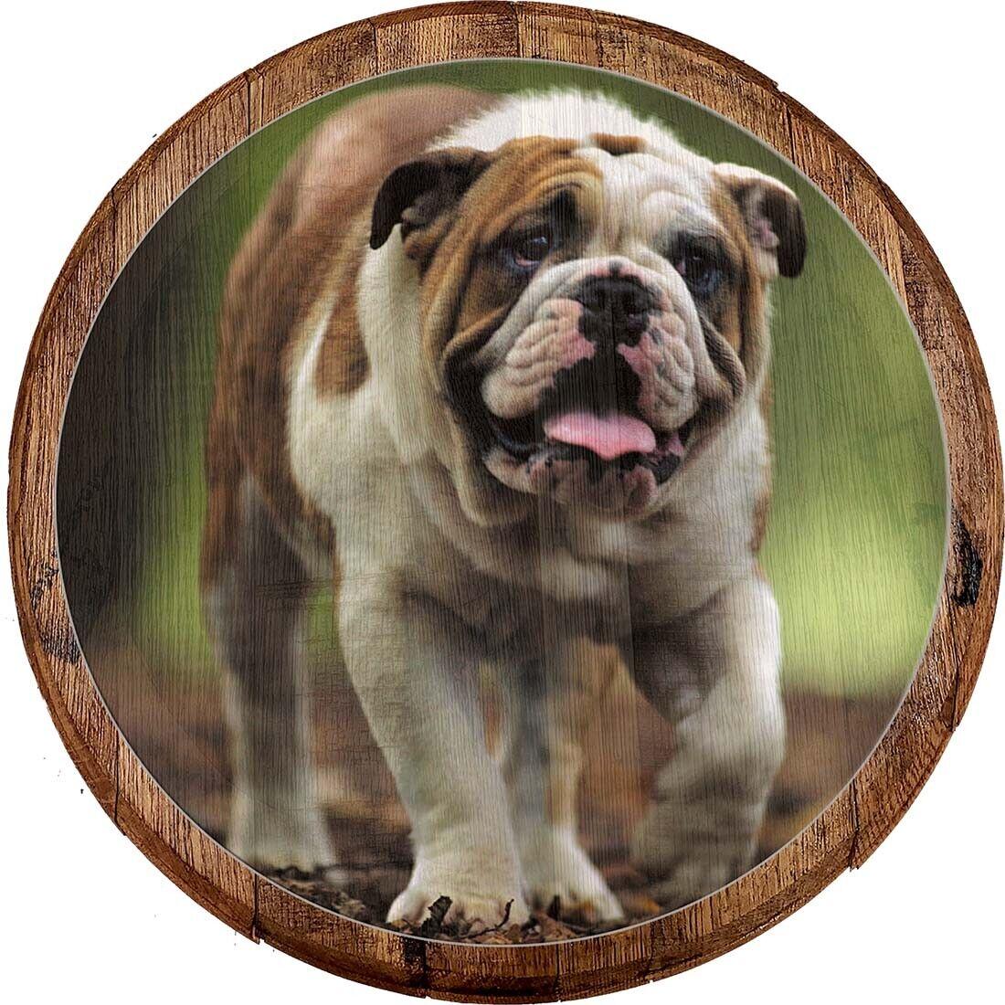 Whiskey Barrel Head Happy English Bulldog Dog Furbaby K9 Animal Décor Wall Art