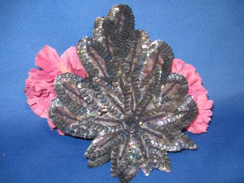 BLACK IRIS TRI FLOWER SEQUIN BEADED APPLIQUE 0971-I