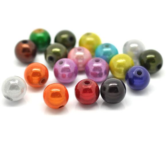 Gros Lots Mixte Perles Magique Acrylique Multicolore Ronde 10mm
