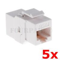 5 Pack - Cat6 Inline Coupler Keystone Rj45 Female Snap-in Jack Insert - White
