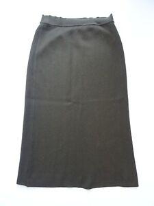 Rena-Lange-Midi-Strickrock-Wadenlang-Gr-44-Gruen-100-Wolle-Knit-Wool-Skirt-Jupe
