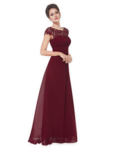 12f651c86b Details about UK Ever-Pretty Lace Cap Sleeve Long Bridesmaid Prom Dress  Evening Ball Gown 9993