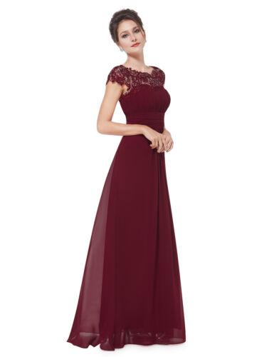 UK Ever-Pretty Long Cap Sleeve Burgundy Bridesmaid Dress Lace Evening Plus Size