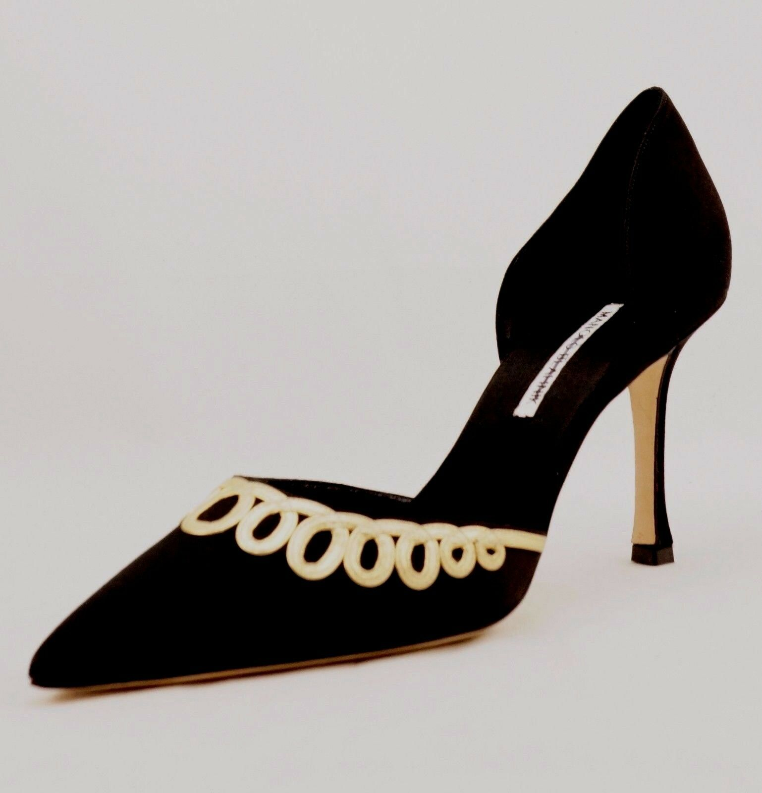 1165 Manolo Blahnik Black Satin Pumps gold Applique BB High Heels sz 41.5 New