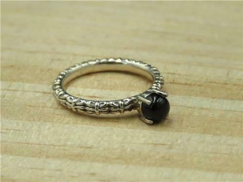 QVC Stackable expressions Sterling Antique Motif Noir Agate ring Retail $39