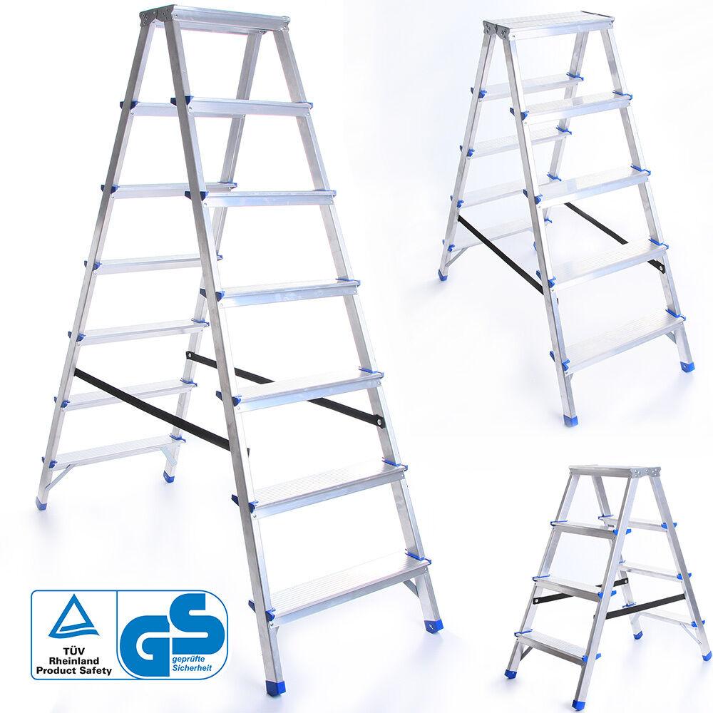 Zweiseitige ALULEITER 2 - 8 Stufen KLAPPLEITER Leiter Haushaltsleiter 150kg