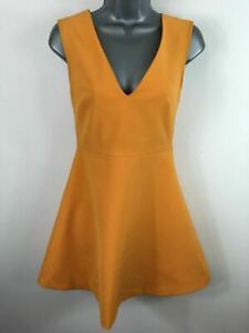 WOMENS-ZARA-WOMAN-MUSTARD-V-NECK-FIT-amp-FLARE-SHORT-SUMMER-SKATER-DRESS-SIZE-XS