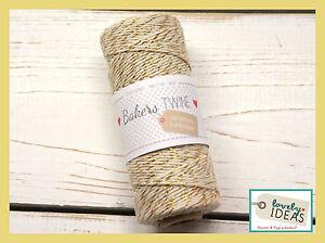 0-09-m-Baker-039-s-Twine-natur-goldfarben-90m-Rolle-Bakers-Kordel-Bastelschnur