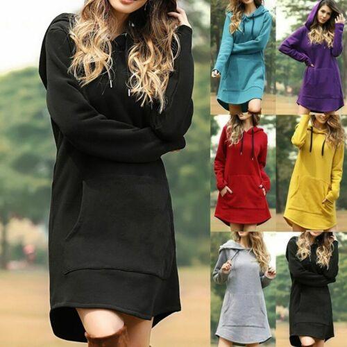 Women/'s Sports Hooded Sweatshirt Hoodie Dress Long Sleeve Loose Pullover Jumper