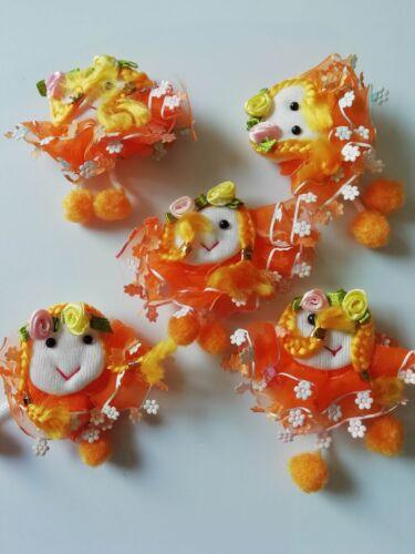 Elegante 5 Puppe Applikation Aufnäher 5cm Orange Weiß Nähen Cg 0119