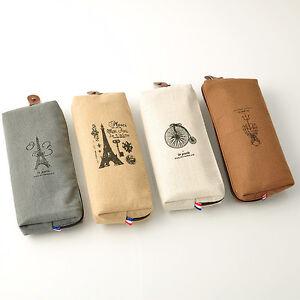 Retro Canvas Paris Pencil Pen Case Cosmetic Makeup Coin Pouch Bag Zipper Purse
