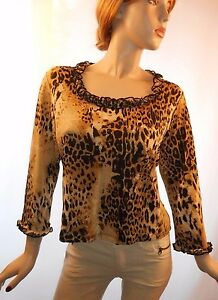 Creative-Design-Works-Size-Large-Sexy-Ruffled-Leopard-Print-Top-W-3-4-Sleeves