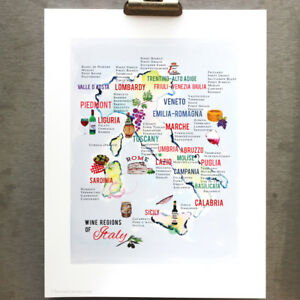Italian Wine Map, Map of the Wine Regions of Italy, 8 1/2 x 11