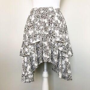 Free-People-Womens-Skirt-Hi-LO-New-York-Asymmetrical-Hem-White-Floral-4-6-Small