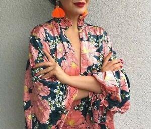 stampe Sleeves Samtkleid con Kleid Blumen M a fiori Puffy Velluto Kimono Zara S floreali mNnw08