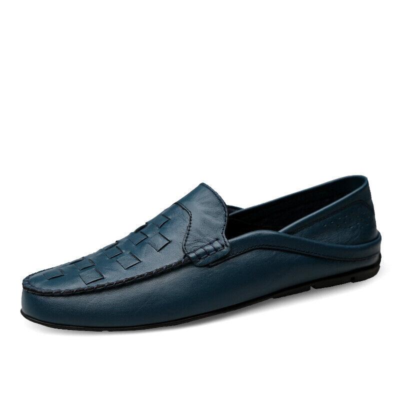 Fashion Herren Rund Schuhe überstreifen Unifarben loafer Mokassin Flach Freizeit