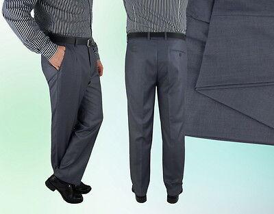100% Wahr Herren Anzug Hose Grau Klassisch Business Sommer - 52 -