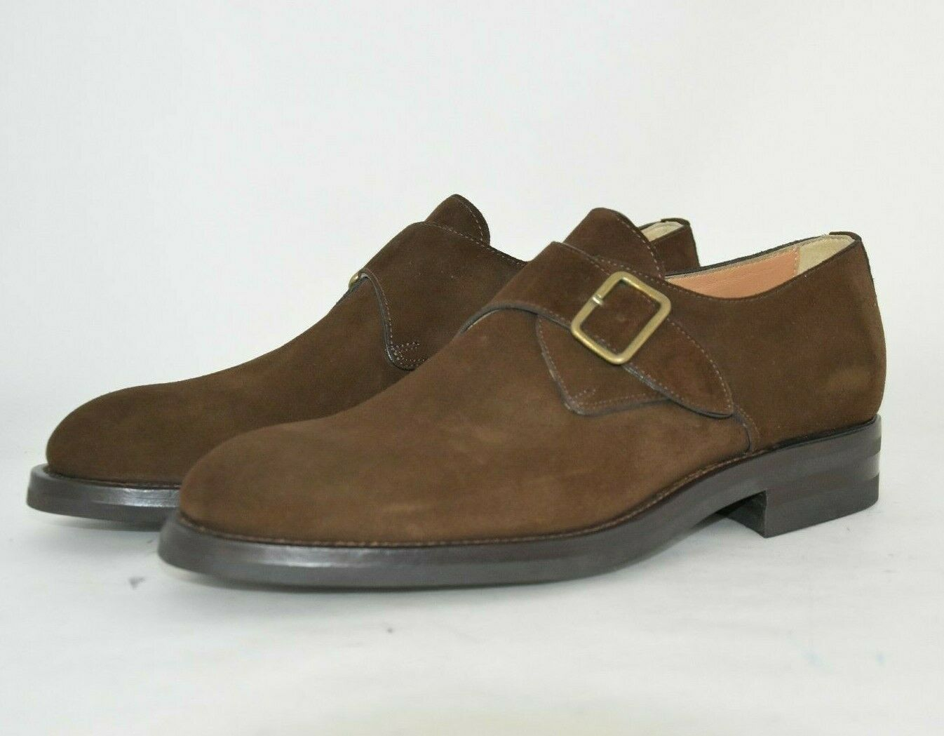 MEN-8½eu-9½usa-DERBY SINGLE MONKSTRAP-BROWN SUEDE-CAMOSCIO T.Mgold-LEATHER SOLE
