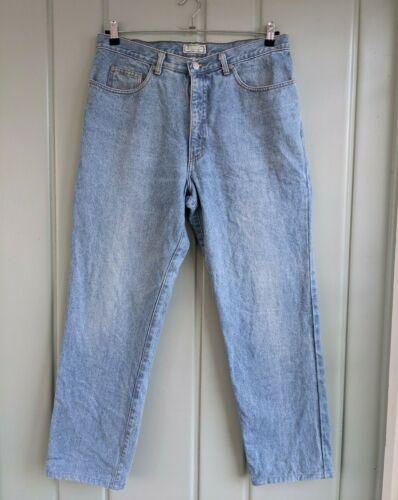WAIST 38- Vintage Mens 1980s Light Blue Denim Shorts Quality Retro Clothing-