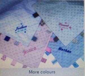 Personalised Soft Baby Taggy Blanket Comforter Baby Boy//Girl Gift Keepsake Gift
