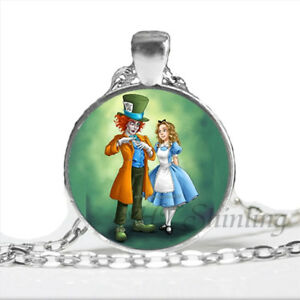 Mens necklace Alice In Wonderland Hat Low Mad Hatter Hat Vintage Antique Silver Color Pendant Necklace Collars Necklace