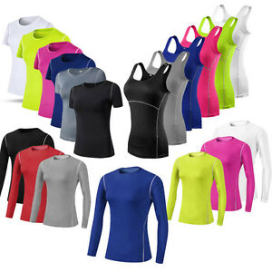 Women-Athletic-Workout-Running-Yoga-Compression-Stretchy-Quick-dry-T-shirt-Vest