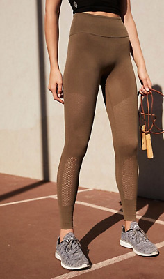 NEW Free People Movement Self-Hem Ecology Leggings Green Made in Italy $140.40