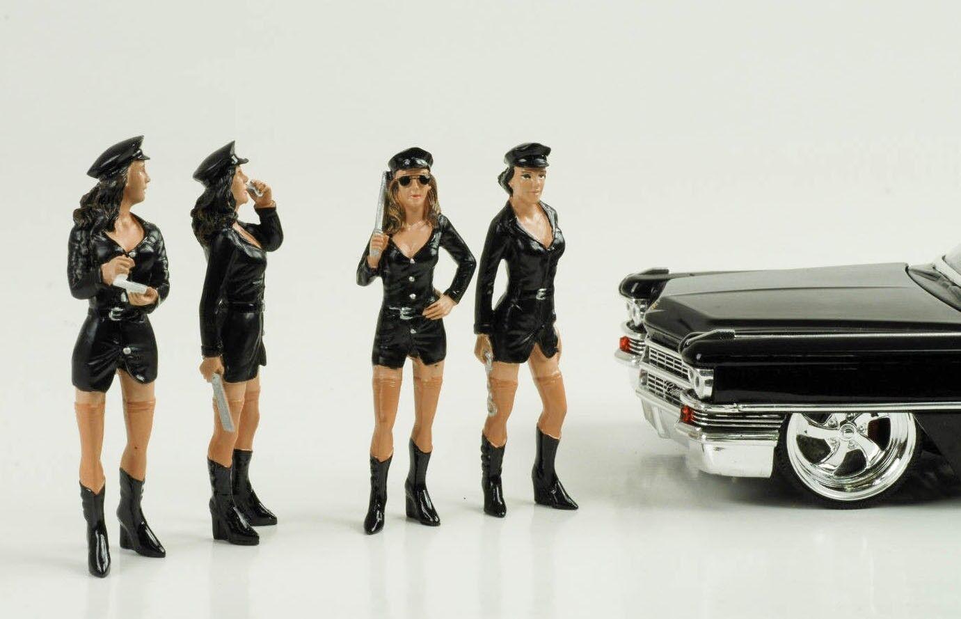 1 24 Girl Set Police Polizei Polizei Polizei 4 Figurines Figur Hot  Figures American Diorama 91b6ab