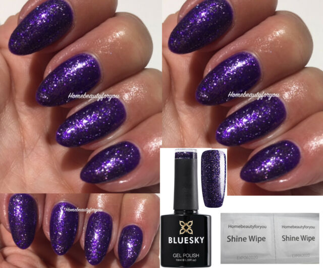 Bluesky VIP 08 Dark Purple Fine Glitter Sparkle Nail GEL Polish UV ...
