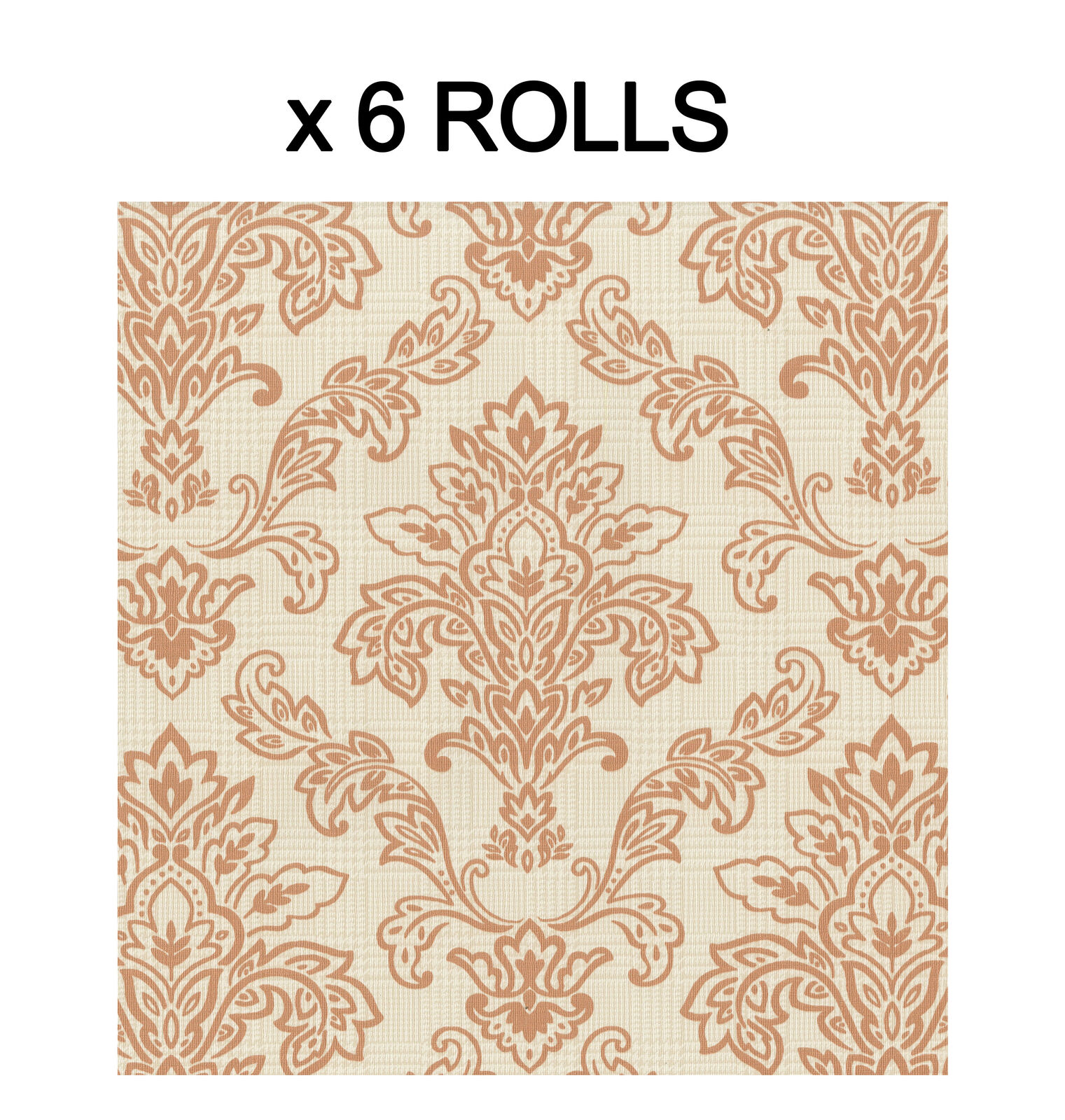 Orange Damask Wallpaper Modern Plaid Luxury Paste The Paper Washable 6 Rolls