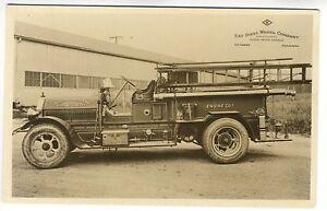South Passadena CA Fire Truck Engine 1 Kay Steel Wheel RPPC Real Photo Postcard