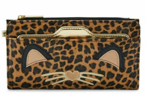 No Boundaries Ladies Zip Button /& Removable Card Wallet Ella Leopard Cat Color
