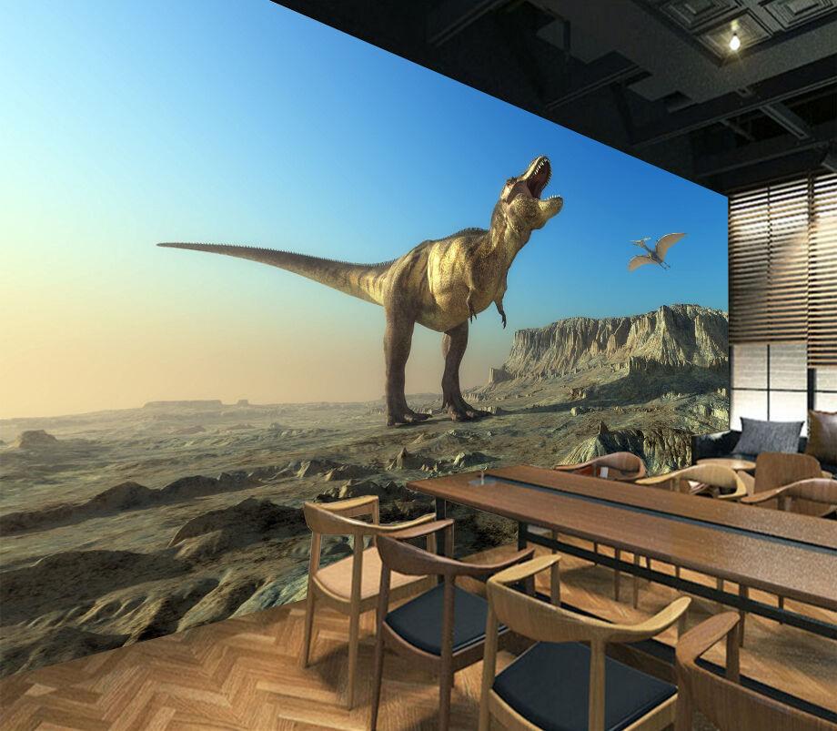 3D Howling Dinosaur 6 Wand Papier Wand Drucken Decal Wand Deco Innen AJ Wand Papier