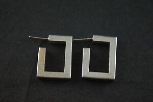 100% De Qualité Vintage Sterling Silver Square Hoop Boucles D'oreilles - 9 G-afficher Le Titre D'origine Cadeau IdéAl Pour Toutes Les Occasions