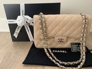 ea69c69183a693 Image is loading AUTHENTIC-CHANEL-BEIGE-Classic-Jumbo-Caviar-Double-Flap-