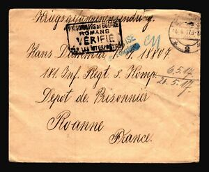 Germany-1917-POW-Cover-to-France-Small-Top-Tear-Z14397