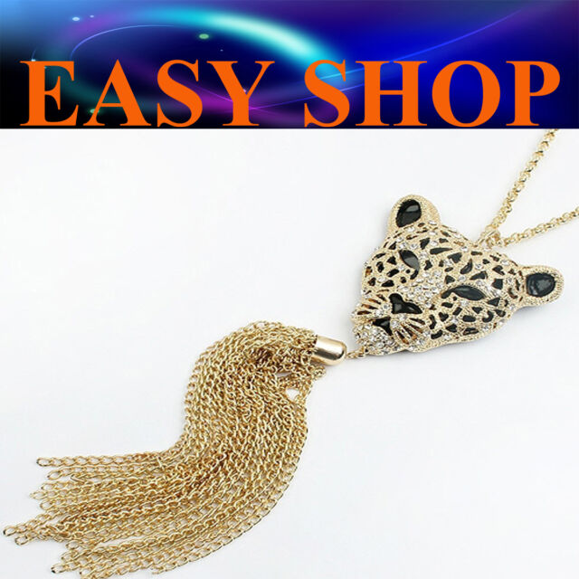 70cm Cool Leopard Head Tassel Diamante Chain Necklace Pendant Fashion Lady Women