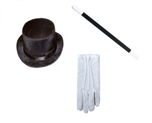 Magician Costume Set Top Hat BACCHETTA Guanti Bianchi Stag COPPERFIELD Gambali