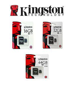 SCHEDE-MEMORIA-MICRO-SD-KINGSTON-8-16-32-64-128-GB-CLASSE-10-E-CLASSE-4-NUOVE