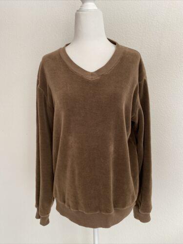 Vintage 70s Men's Brown Velour Sweatshirt V Neck P