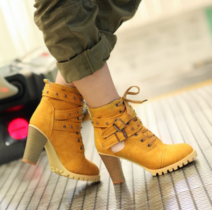Womens Roman Ankle Boots Rivets Combat High Heels Shoes Chunky Heel Ridding