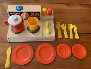Details About 15 Piece Lot Vintage Fisher Price 919 Magic Burner Stove Top Play Kitchen